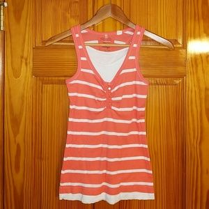 Energie pink and white ribbed tank top